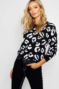 Womens Leopard Knitted Jumper - black - L, Black