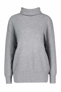Womens Roll Neck Knitted Oversized Jumper - grey - M/L, Grey