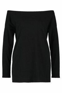 Womens Off The Shoulder Oversized Rib Knit Jumper - black - 8, Black