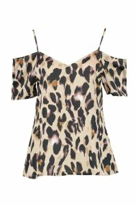 Womens Leopard Print Woven Cold Shoulder Top - beige - 6, Beige