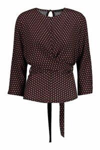 Womens Heart Geo Print Tie Waist Blouse - black - 8, Black