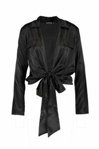 Womens Satin Utility Pocket Plunge Shirt - black - 16, Black