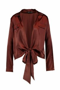 Womens Satin Utility Pocket Plunge Shirt - brown - 16, Brown
