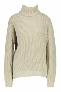 Womens Oversized Roll Neck Jumper - beige - S/M, Beige