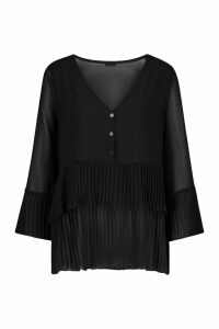 Womens Pleated Button Smock Blouse - black - 10, Black