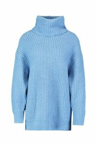 Womens Oversized Roll Neck Rib Knit Jumper - dusty blue - M, Dusty Blue