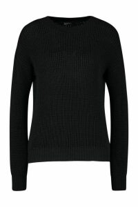 Womens Oversized Jumper - black - L, Black