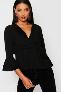 Womens Wrap Over Tie Blouse - Black - 12, Black
