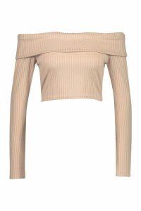 Womens Long Sleeve Jumbo Rib Bardot Crop Top - Beige - 16, Beige