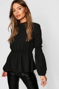 Womens Woven Shirred Balloon Sleeve Blouse - black - 14, Black