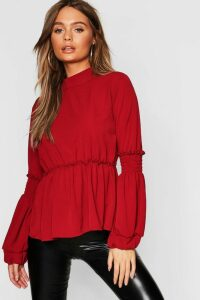 Womens Woven Shirred Balloon Sleeve Blouse - 14, Red