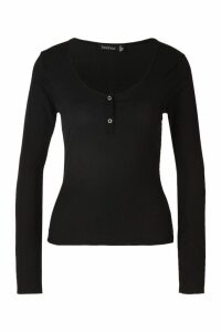 Womens Rib Button Detail Long Sleeve Top - black - 8, Black