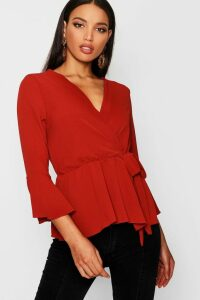 Womens Wrap Over Tie Blouse - orange - 14, Orange