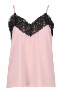 Womens Lace Trim Cami - pink - 14, Pink