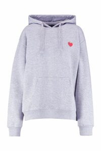 Womens Embroidered Oversized Hoody - grey - 16, Grey