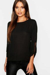 Womens Bow Sleeve Woven Blouse - Black - 14, Black