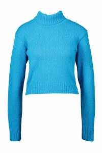 Womens Roll Neck Crop Jumper - peacock blue - L, Peacock Blue