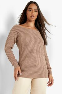 Womens Slash Neck Fisherman Jumper - Beige - L, Beige