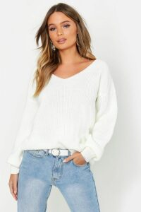 Womens Oversized V Neck Jumper - white - M, White