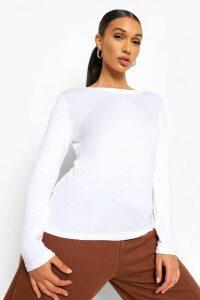 Womens Basic Long Sleeve Crew Neck T-Shirt - white - 16, White