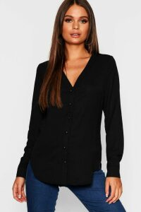 Womens V Neck Blouse - black - 10, Black