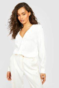 Womens V Neck Blouse - white - 6, White