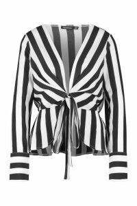 Womens Stripe Tie Front Woven Blouse - black - 6, Black