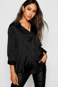 Womens Woven Satin Oversized Long Sleeve Shirt - black - 14, Black