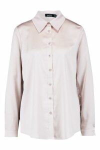 Womens Satin Oversized Shirt - Beige - 16, Beige