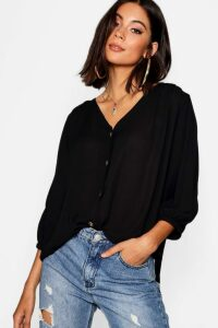 Womens Horn Button Through Blouse - black - 16, Black