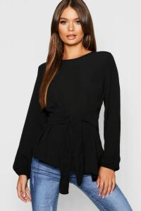 Womens Asymmetric Hem Belted Woven Top - black - 12, Black