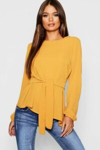 Womens Asymmetric Hem Belted Woven Top - yellow - 14, Yellow