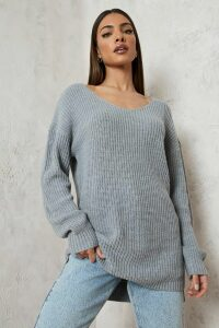 Womens Oversized V Neck Jumper - grey - L, Grey
