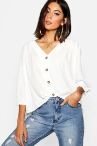 Womens Horn Button Through Blouse - White - 10, White