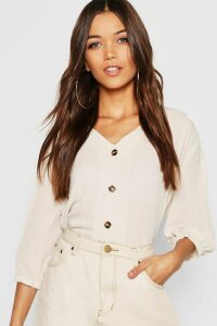 Womens Horn Button Through Blouse - Beige - 14, Beige