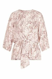 Womens Snake Print Tie Front Blouse - Pink - 14, Pink