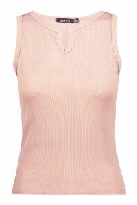 Womens Basic Notch Ribbed Vest - beige - 10, Beige