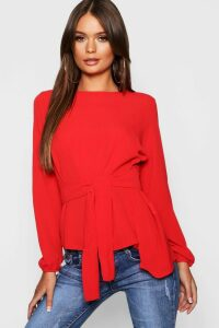 Womens Asymmetric Hem Belted Woven Top - red - 12, Red