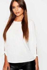 Womens Bow Sleeve Woven Blouse - white - 14, White