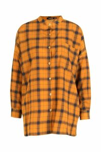 Womens Grandad Collar Oversized Check Shirt - yellow - 8, Yellow