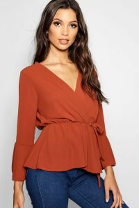 Womens Wrap Front Peplum Hem Blouse - orange - 14, Orange