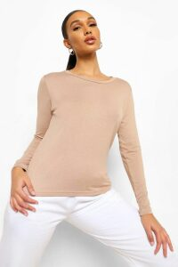 Womens Basic Long Sleeve Crew Neck T-Shirt - Beige - 12, Beige