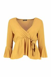 Womens Wrap Front Peplum Hem Blouse - yellow - 12, Yellow