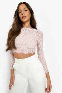 Womens Premium Lace Crop Top - pink - S, Pink
