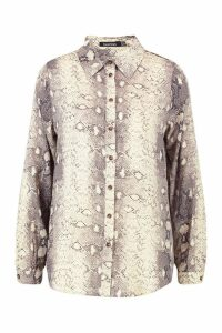 Womens Snake Print Horn Button Shirt - Beige - 12, Beige