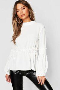 Womens Woven Shirred Balloon Sleeve Blouse - white - 10, White