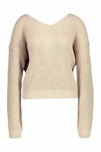 Womens Crop Twist Jumper - beige - M/L, Beige