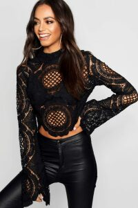 Womens roll/polo neck Crochet Lace Crop - black - 8, Black