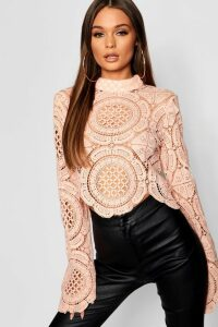 Womens Roll/Polo Neck Crochet Lace Crop - Beige - 14, Beige