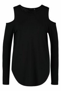 Womens Long Sleeve Cold Shoulder Top - black - 16, Black